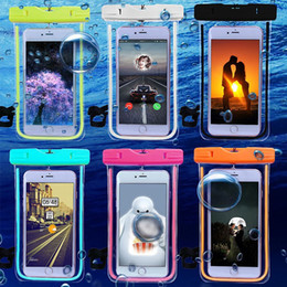 3.5-6'' inch Universal luminous PVC Waterproof bag Underwater Pouch Dirt Snow Proof Durable Thick Case Cover For Apple iphone 7 6s plus 5s