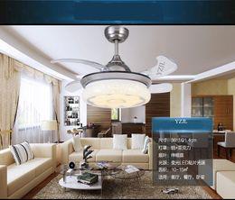 Transparent ABS blades Fan light dining room pendant fan light modern minimalist LED home living room bedroom Fan lamp pendant