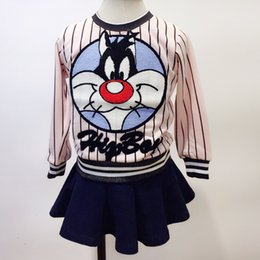 Wholesale Baby Striped New Girl Cotton Long Sleeves Cartoon Brand Coat O Neck High Quality Black Pink Fresh Breathable Fashion Beautiful Shirts Lovely