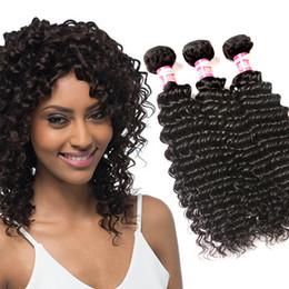Promotion 24 profonds faisceaux de cheveux bouclés Deep Wave Brazilian Hair Weave Bundles 3 ou 4 pcs / lot Péruvien indigène Malaisien mongol Deep Curly Weave Hair Hair Extensions Bundle