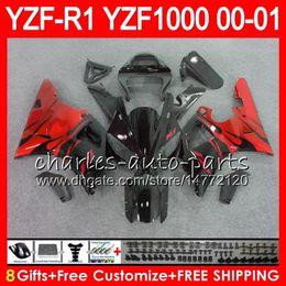 Bodywork For YAMAHA YZF1000 YZFR1 00 01 98 99 YZF-R1000 Body 74HM4 TOP Red flames YZF 1000 R 1 YZF-R1 YZF R1 2000 2001 1998 1999 Fairing Kit