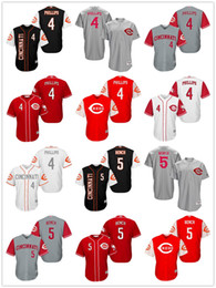Wholesale 2017 Newest Brandon Phillips Johnny Bench Billy Hamilton Joe Morgan Cincinnati Reds throwback Men Cool Base Jerseys Retro Embroidery