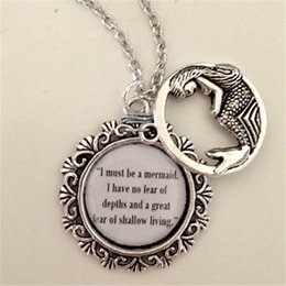12pcs lot I Must Be A Mermaid quote Necklace silver tone Ocean see jewelry