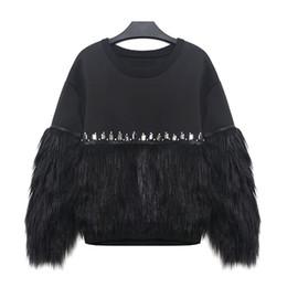 2017 hoodie de la fourrure pour les femmes [WHOLESALE] 2016 Automne Hiver Femmes Sweat-shirt à capuche épaissi fourrure épissé avec strass Nouveau Streetwear peu coûteux hoodie de la fourrure pour les femmes