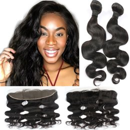 Resika 8A Brazilian Virgin Hair With 13*4 Lace Closure 100% Human Body Wave Virgin Hair 2 Bundles 50g pcs With Closure