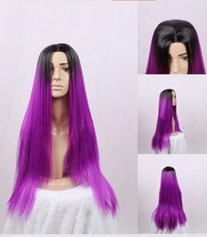 Ombre purple Long Silk Straight Synthetic no Lace Front Wig Glueless black To purple Tone Heat Resistant Hair Women Wigs