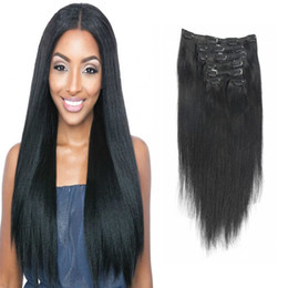 Brazilian 7A Straight Virgin Human Hair 70g-220g Clip In Extension Full Head # 1 Jet Black Couleur 7Pcs lot 16-26 Pouces Livraison gratuite à partir de fabricateur