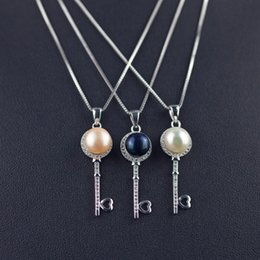 New Wholesale 925 Sterling Silver Natural Freshwater Pearl CZ Key Pendant Fashion Jewelry Women's Best Gift Free Shipping
