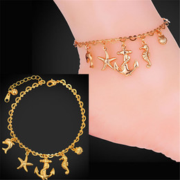 U7 Cute Ocean Style Foot Jewelry Anklet For Women Fashion Jewelry 18K Real Gold Platinum Plated Anklet Bracelet On A Leg A939