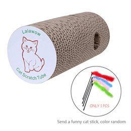 Coussinets de chat en Ligne-Lalawow Cat Scratch Tube Cravate à chat Cravate à gratter pour animaux avec Cat Teaser Bulit-in Bell Toy