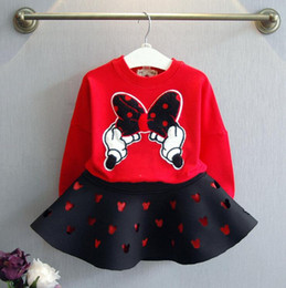 Descuento faldas para las muchachas de los niños Nuevo estilo dos piezas niñas vestido niñas calientes suéter cáscara de encaje