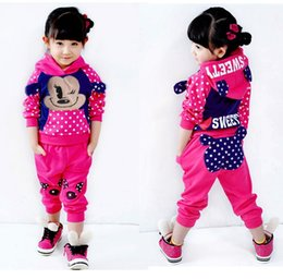 2018 new cotton Mickey Girls suit   baby girls casual sportswear Children