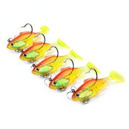 Acheter en ligne Poissons de silicone pour la pêche-5pcs pêche crochet attrait 6cm-8.63g plomb poissons de plomb Silicone leurres soft appâts crochet de pêche artificielle pêche accessoires