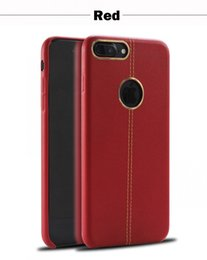 Protection téléphone cellulaire en Ligne-Pour Red iphone 7 7 plus Cuir cuir coutures avec boîtier en métal anneau TPU Protection Cell Phone Cases
