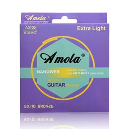 Amola NANOWEB BROZE 010 011 012 Wound guitar strings Phosphor Bronze Ulra Thin Coating Acoustic Guitar Strings