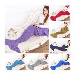 Wholesale Adulte Tapis de queue de sirène à la main Couverture de crochet serviette de mer Sac de couchage de queue Matelas de cocoon Canapé en tricot couette couleurs DHL
