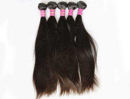 Acheter en ligne 18 black hair-Cheveux brésiliens non transformés en cheveux humains tissent des extensions de cheveux indiennes malais de la Hongrie Straight 3 Bundles 7A Best Quality Natural Black