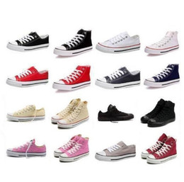 Descuento altos tops hombres 45 DORP QUE ENVÍA LOS NUEVOS zapatos de lona de los hombres de las mujeres adultas altas-Top unisex de size35-45 los nuevos 13 colores atados encima de zapatos de la zapatilla de deporte de los zapatos ocasionales
