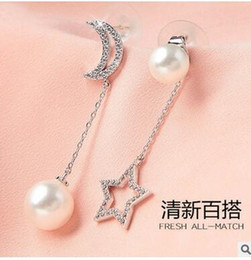 S925 Silver Asymmetric Stud Earrings Korean Long Moon Star Diamond Earrings Anti-allergic Sterling Silver Pearl Earrings