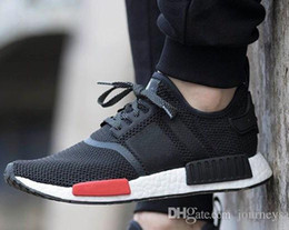 2017 Wholesale Discount Cheap nmd Runner Running Shoes For Women Men Cheap Sneakers Patchwork Grey White Boost 36-46 Free Ship With Box