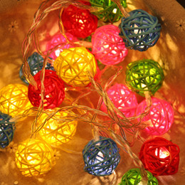 Wholesale LED Party Lights Colorful Rattan Ball Lights Shinning Lights String Romantic Wedding Party Home Decor Decoration LED with AA Battery