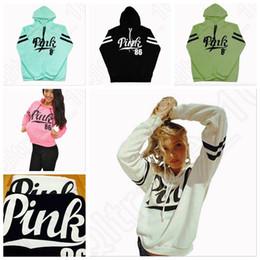 2017 manteau pull à manches Femmes Rose Lettre Hoodie VS Pink Pullover Tops Chemise Manteau Sweat-shirt à manches longues Hoodies Casual Pull Sweat à capuche Mode 100pcs OOA1052 bon marché manteau pull à manches
