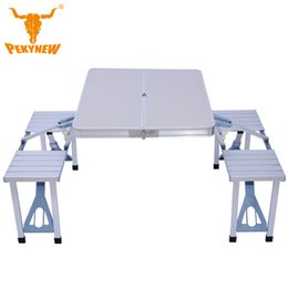 Wholesale Thick piece aluminum folding tables and chairs Portable Folding Table Desk Furniture Outdoor Picnic