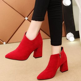 Retro Red High 6CM Women Shoes Winter New 2017 Fashion High Heels Suede Female boots Normal Size 35-39 Shallow Suede Women Boots