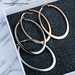 Classic Elliptical Shape Design Rose Gold Color Timeless Styling Lady Trendsetter Hoop Earrings