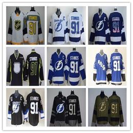 2016 Men's Tampa Bay Lightning Hockey Jerseys #91 Steven Stamkos Jersey Blue White Black Steven Stamkos Stitched Jerseys C Patch