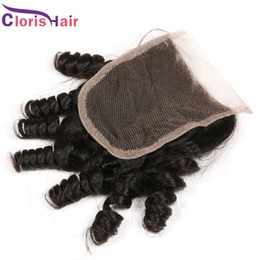 Outlet Spiral Romance Curls Closure Cheap Bouncy Curly Unprocessed Brazilian Human Hair Aunty Funmi Top Lace Closures Pieces
