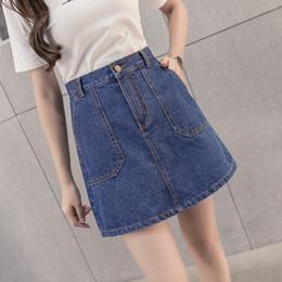 2016 tipos de pantalones cortos para las mujeres 2017 Primavera Nueva Patrón Coreano Vaquero Mitad-cuerpo Mujer Alta Cintura Word Paquete Hip Pocket Código Un Tipo De Falda Corto Yo tipos de pantalones cortos para las mujeres promoción
