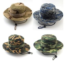 Promotion cap arrondi pour les hommes 5 Pcs Fashion Foldable Round Hat Camouflage Jungle Cap Camping Mountaineering Chapeau de pêche en plein air Hat Bucket été à la fois pour hommes et femmes