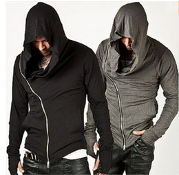 Wholesale Assassins Creed Mens Hooded Hoody Autumn Sweatshirt Male Assassin s Zipper Streetwear Black Grey Hoodies Men Sportsman Suits Tracksuit