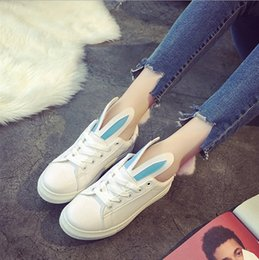 2017 small white shoes women with casual students flat shoes shoes rabbit ears lovely spring and summer models