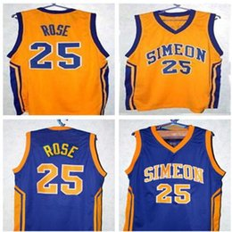 Factory Outlet DERRICK ROSE #25 SIMEON HIGH SCHOOL BASKETBALL JERSEY BLUE,Yellow,stitched Men's XXS-6XL Jerseys Customize any size number