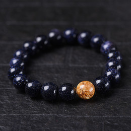 Authentic Gold Blue Sandstone Bracelets Beads Natural Stone Gemstone Fashion Crystal Jewelry Accessory Party Gifts Wholesale Beauty New