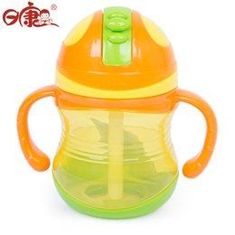 Promotion porter coloré Vente en gros Rikang RK-3470 300ml Bouteille de paille potable colorée Sippy tasse avec des poignées pour les bébés Cute Easy Carry Bouteille Rose Bleu Jaune