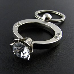 New Design Women Full Finger Ring Shape Sliver Plated Metal keychain Fashion Ring for Girls