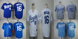Wholesale Kansas City Royals Mens Jerseys Billy Butler Blue White Grey Baseball Jersey Size M XL Fast Shipping Embroidery Logos
