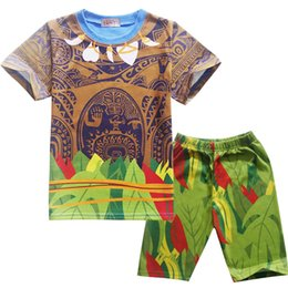 2pcs Moana Casual Top and Shorts Set Cotton Short Sleeves Cartoon Kids Outfits Trend Movie Moana and Maui Image for Sale Children Clothes