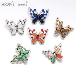 Wholesale Colors Mixed butterfly pattern opal snap button Fit mm snap button Bracelets Necklace For snap Jewelry KZ0346