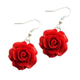 National Style Earrings Red Rose Earrings Paint Carved Earrings