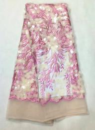 Escama de lentejuelas en Línea-5 Y / pc Cordón africano del acoplamiento del diseño floral de la flor de los cequis rosados calientes de la venta con la tela redonda francesa del cordón de las escamas para la ropa LJ16-3