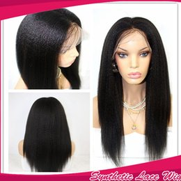 Natural Looking Heat Resistant Black Yaki Straight Long Hair Glueless Brazilian Synthetic Lace Front Wigs with Baby Hair Can be Heat&Permed