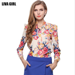 Wholesale 2017 New Fashion Spring Summer Autumn Women Slim Long Sleeve Floral Chiffon Shirt Red Woman Casual Printed Flowers Blouse T-shirt