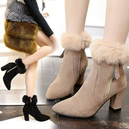 Fashion Women Shoes 2017 winter new pointed suede matte rough with boots fur high heels wild waterproof Martin boots 35-39