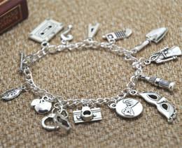12pcs Pretty Little Liars Inspired Charm Bracelet silver tone