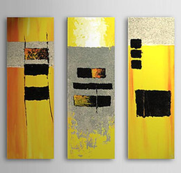 3 Panel Hand painted Modern Abstract Yellow Canvas Oil Painting Artwork for Living Room Wall Decorations
