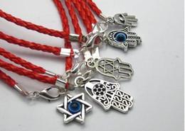 Malos encantos ojo azul en Línea-La venta al por mayor-Mezclada Kabbalah Hamsa Fatima mano encanta negro rojo cuerda buena suerte pulseras brazalete azul malvado Ojo Protección mujeres regalo 20pcs